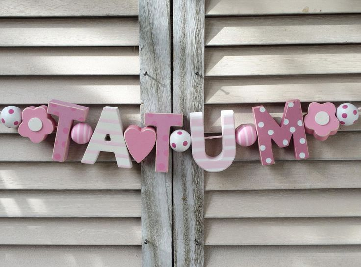 TATUM WOODEN NAME SIGN PINK WALL LETTERS DOOR DECOR BABY SHOWER NURSERY SHABBY #NostalgieSpiel