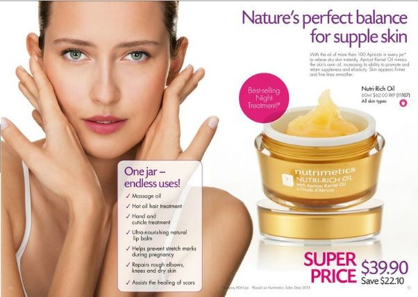 Nutrimetics Nutri-Rich Oil 60ml  Super Special until 31 March 20254 Only $39.90, Save $22.10  https://www.nutrimetics.com.au/cyndi/Skincare/Classic_Care/Nutrimetics_Nutri-Rich_Oil_60ml.aspx  The oil of more than 100 Apricots in every jar to relieve dry skin instantly. This concentrated formula mimics the skin's oil, relieving dryness and improving elasticity and moisture retention to visibly reduce fine lines and soothe stressed skin.
