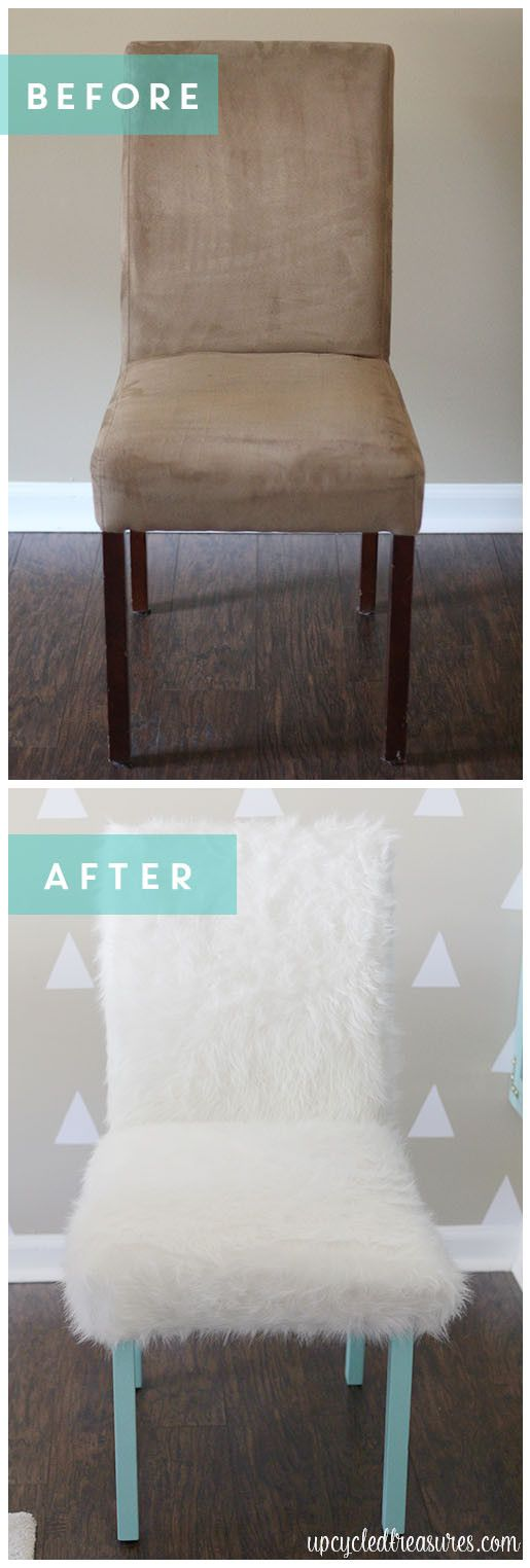 Whimsical Faux Fur Office Chair Makeover. A boring chair gets transformed using faux fur and pops of turquoise, perfect for a creative office or craft room! UpcycledTreasures.com