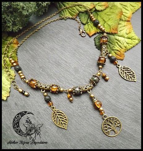 Collier Yggdrasil en Rubis Zoïsite, Oeil de tigre, pierre de lave perles de verre° Sanctuaire de vie ° : Collier par atelier-bijoux-legendaires