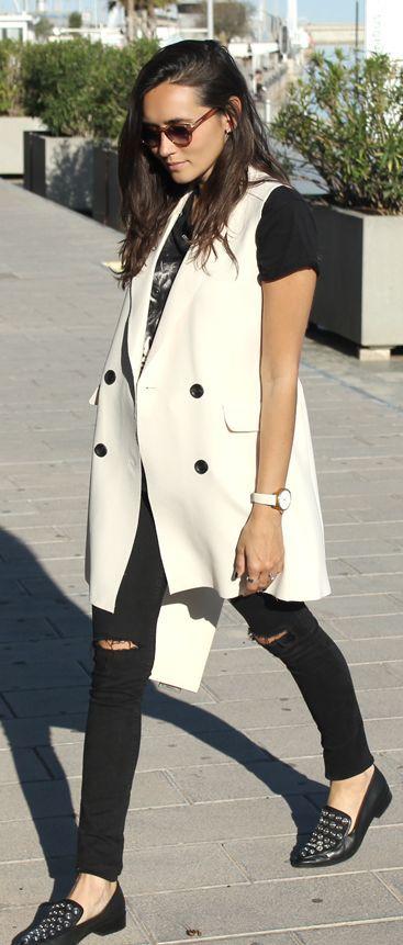 White Long Vest Outfit Idea by Coohuco