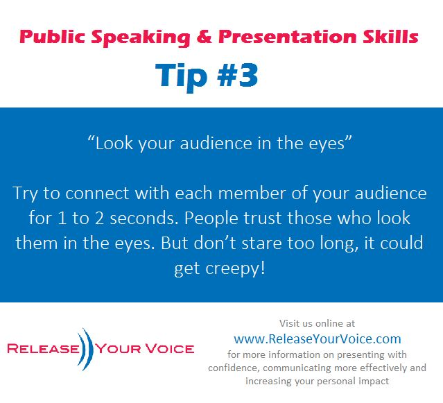 Public Speaking & Presentation Skills Tip #3 - Look your audience in the eyes