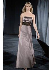 Satin Sculpted Strapless Floor-Length Bridesmaid Dress