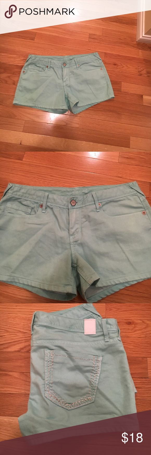 Mint shorts Maurices mint shorts with silver stitch  11/12- great condition Maurices Shorts Jean Shorts