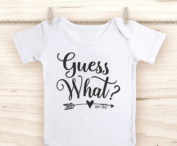 Pregnancy Announcement Shirt  Guess What Onesie®   by FawnandDaisy
