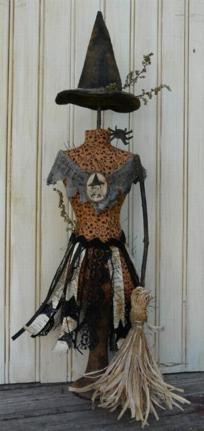 Halloween Witch Mannequin Dress Form E Pattern -  Pdf Pincushion Pin Keep email primitive pinkeep cushion. $8.49, via Etsy.