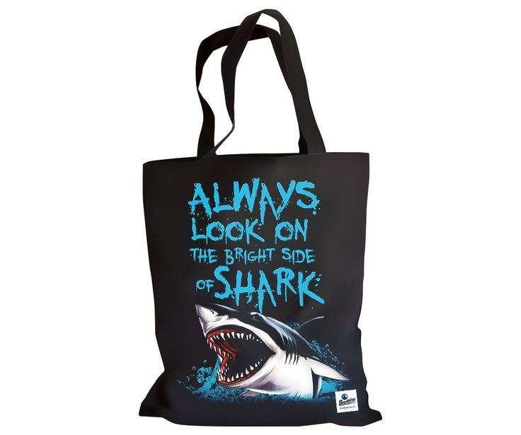Always look on the bright side of shark - funny black bag for men