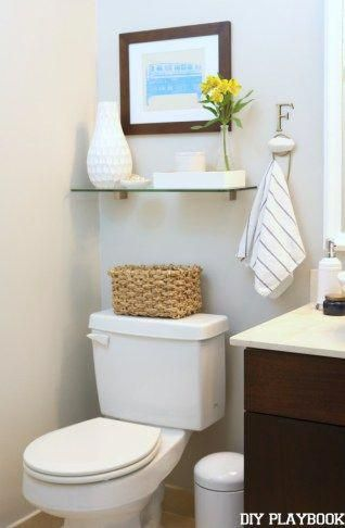 Shelf and art above toilet really improves a bathroom. #decoratingbathroomsmoder…   – Decorating bathrooms