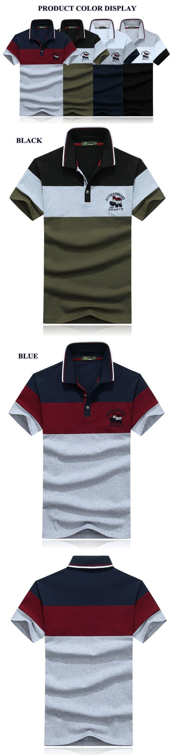 AFSJEEP Men's Fashion Striped Short Sleeve T-shirt Casual Splicing Color POLO Shirt