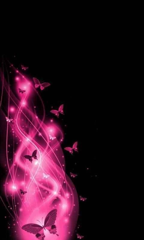 Pink Butterflies On Black Wallpaper