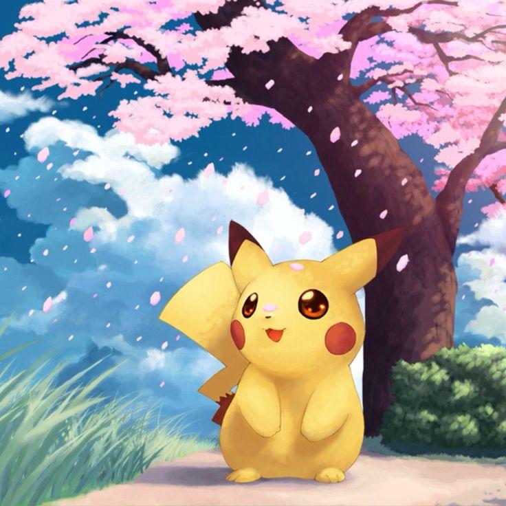Pikachu paseando en un lindo lugar