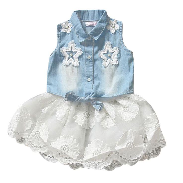 Ребенок дети девушки принцесса цветочные шифоновое платье без рукавов демин топы + юбки комплектов одежды