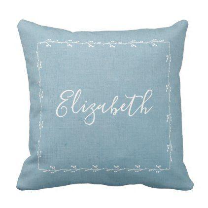 Monogram Denim Blue Rustic Decorative Pillow - chic design idea diy elegant beautiful stylish modern exclusive trendy