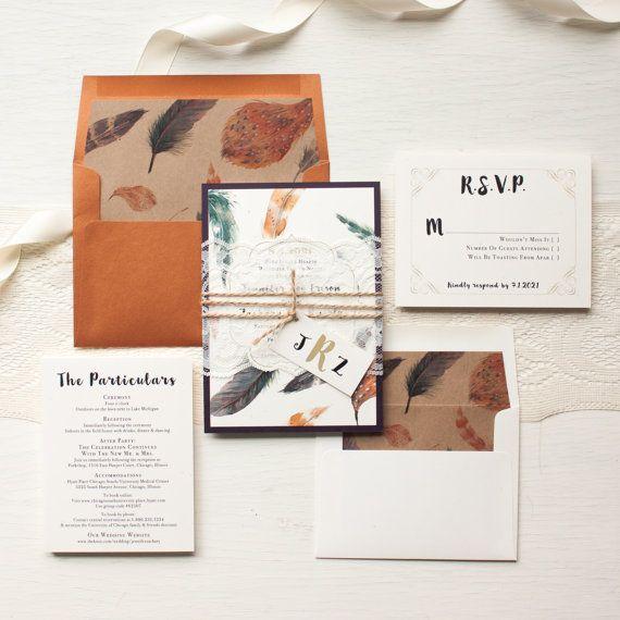 Hochzeit Einladungen böhmische Einladung Plum Kupfer von BeaconLane