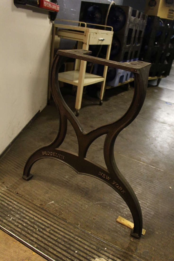 """Pair of """"Brooklyn"""" Stamped Cast Iron Table Legs 
