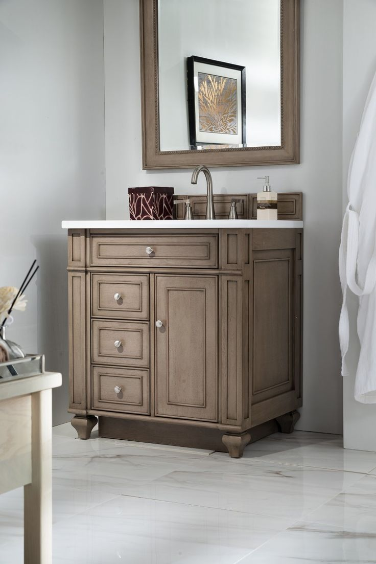 Images Photos  inch Antique Bathroom Vanity Whitewashed Walnut Finish White Quartz Top
