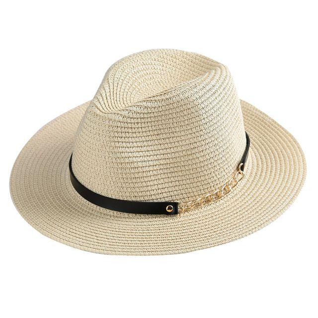 Соломенные Шляпы для Женщин Широкими Полями Цепи Вс Шляпы Сплошной Цвет панама Hat Sun Cap Флоппи Летний Пляж Шляпы Вводная Paille Бежевый/Хаки
