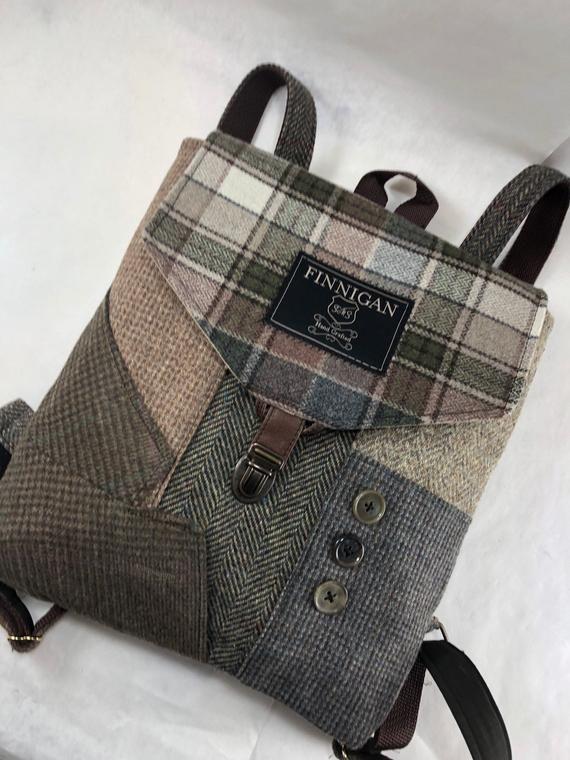 Mens Backpack Womens backpack Soft sided Bag Recycled Mens Suit Coat Bag Travel Bag Backpack Recycled Backpack  bag
