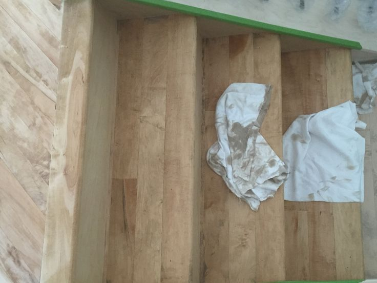 Maple hardwood site sand. Stained with Watco Medium Walnut