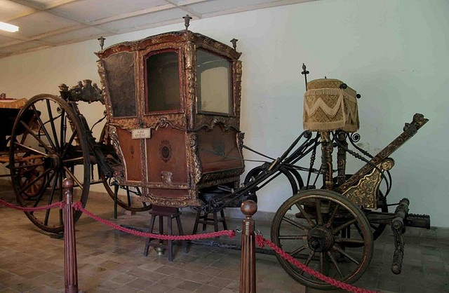 Royal coach belonged to King Pakubuwono II, on the door imprinted the logo of VOC. The main Dutch trading company in Indonesia back in the 1700's. On display in Kasunanan Palace, Java, Indonesia