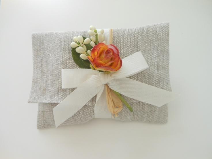 #bomboniera #matrimonio #bustina lino melange con pick rosa arancio