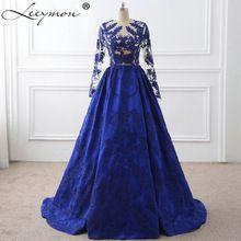 Kraliyet Mavi Dantel Aplikler Uzun Kollu Ünlü Elbiseleri 2017 Vestido De Festa Akşam elbise Ünlü Kırmızı Halı Elbise(China (Mainland))