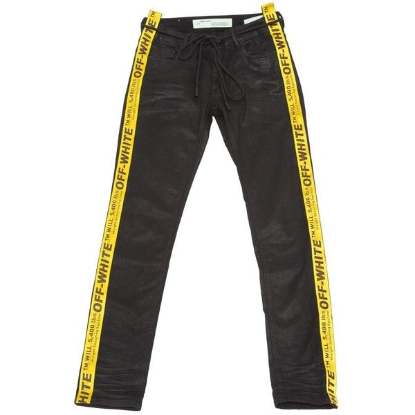 Pre-owned Off White Trousers ($538) ❤ liked on Polyvore featuring men's fashion, men's clothing, men's pants, men's casual pants, black, men clothing trousers, mens stretch pants, mens zipper pants, men's 5 pocket pants and mens cotton pants