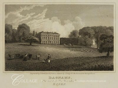 Romford, Havering    View of Dagnams House, Romford, Essex; Romford is now in the London borough of Havering.    1819