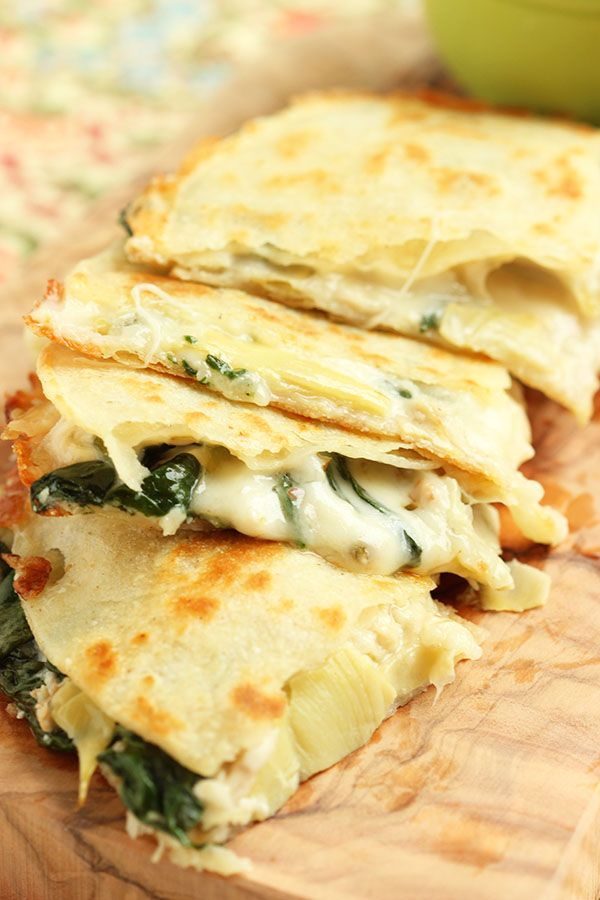 Spinach Artichoke and Chicken Quesadillas have your favorite dip inside.