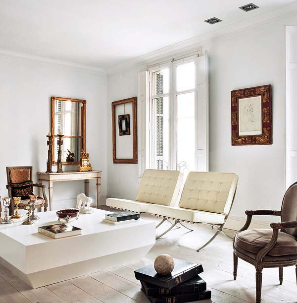 Four reasons why this room works Mix of Old and New The two white Barcelona  chairs   coffee table against the Louis chair  console tabl. 91118 best Antique with Modern images on Pinterest   Living room