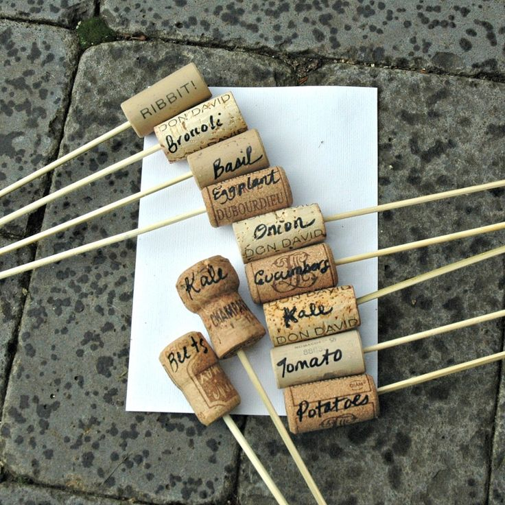 Cork Plant labels - I knew I was saving those corks for something useful.