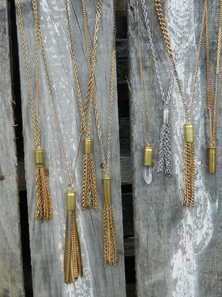 Bullet casing tassel necklaces.
