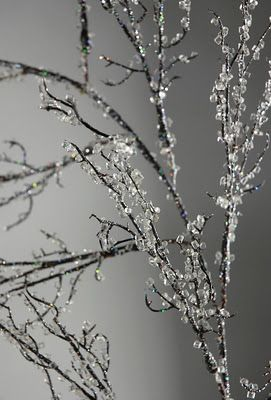 Glitter branches -- site shows you how; Glue;  German glass glitter; ColorFill Diamond Vase Filler