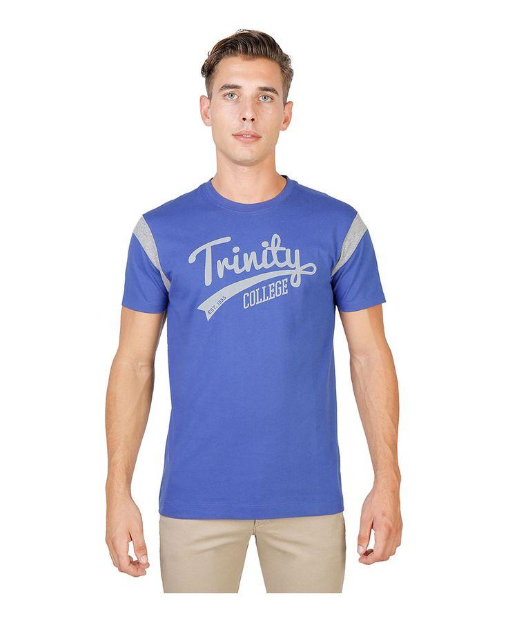 T-shirt girocollo a maniche corte con striscia di colore a contrasto - 100% cotone - tessuto tinto pezza a 60° c con col - T-shirt uomo  Blu