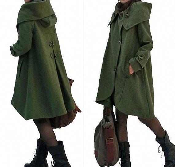 cappotto in lana mantello verde scuro con cappuccio capo donne