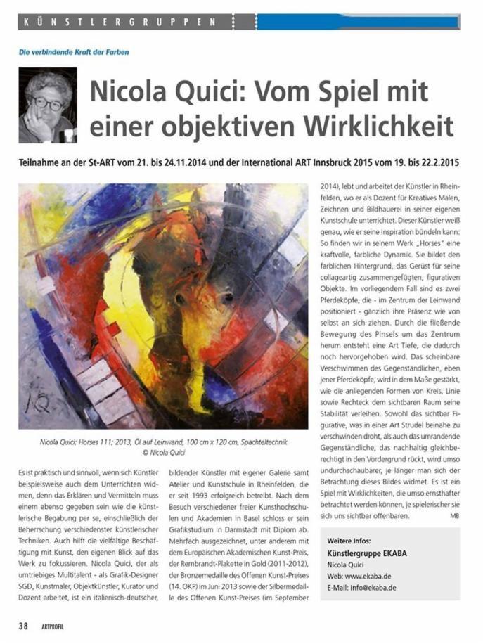 Presse Artikel - kunstschule Quici Rheinfelden