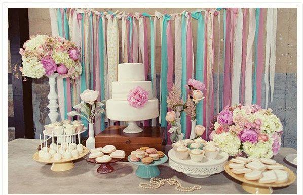 Hochzeiten dekoideen lila rosa blau tischdeko torten