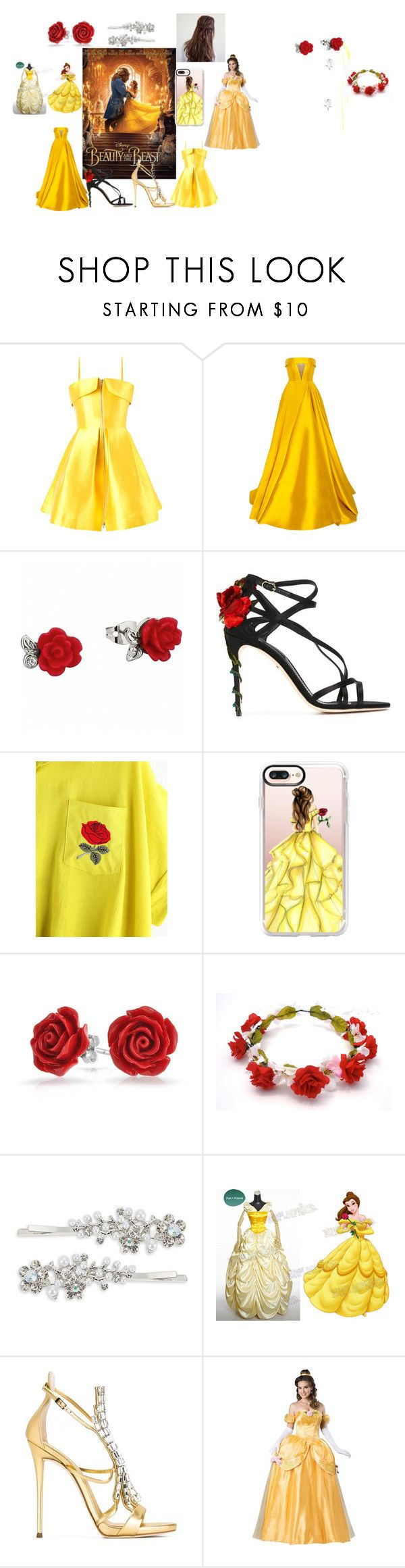 """""""Yellow<3"""" by krissybrennan ❤ liked on Polyvore featuring Disney, Alex Perry, Dolce&Gabbana, Casetify, Bling Jewelry, Robert Rose, Giuseppe Zanotti, BeautyandtheBeast and contestentry"""
