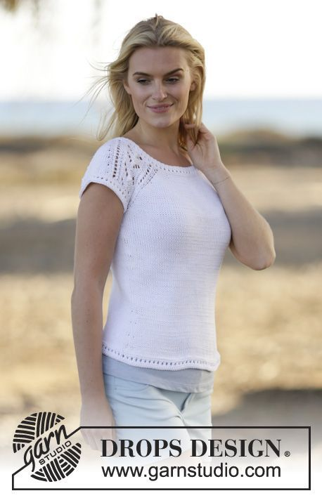 "Knitted DROPS top with raglan and lace pattern, worked top down with short sleeves in ""Muskat"". Size: S - XXXL."
