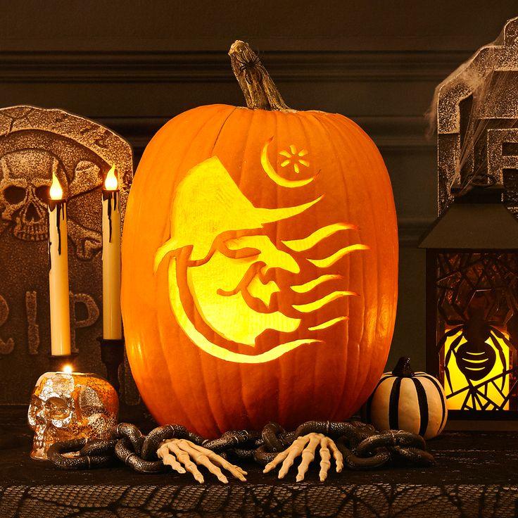 Have a witchy Halloween with this downloadable pumpkin template! #halloween #pumpkins #pumpkintemplates #pumpkincarving #trickortreat