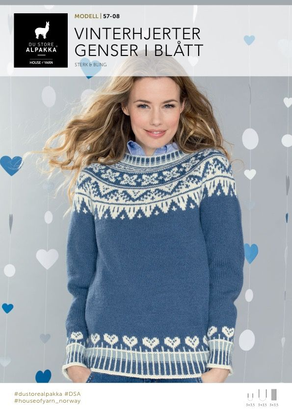 DSA57-08 Vinterhjerter genser i blått – Du Store Alpakka