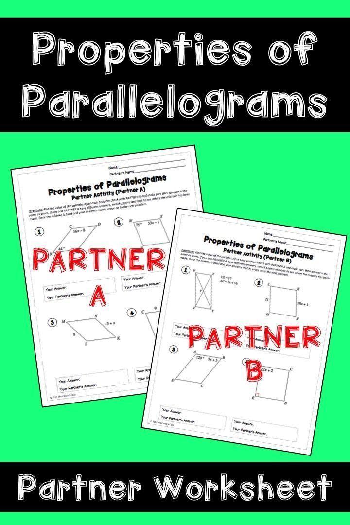 Properties Of Parallelograms Partner Activity Worksheet High School Geometry Properties Of Parallelograms Geometry High School Parallelogram Activities Properties of parallelograms worksheet