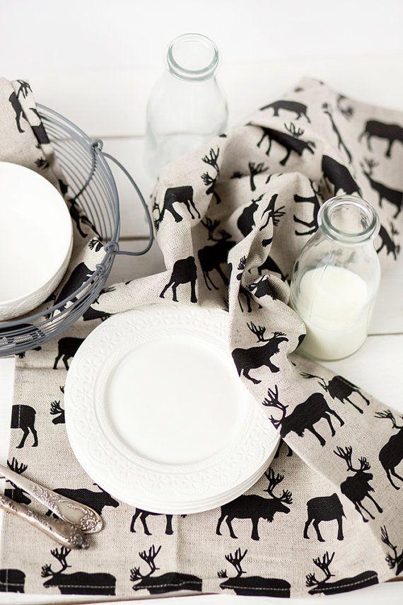 Linen towels Linen tea towels with deers Linen kitchen