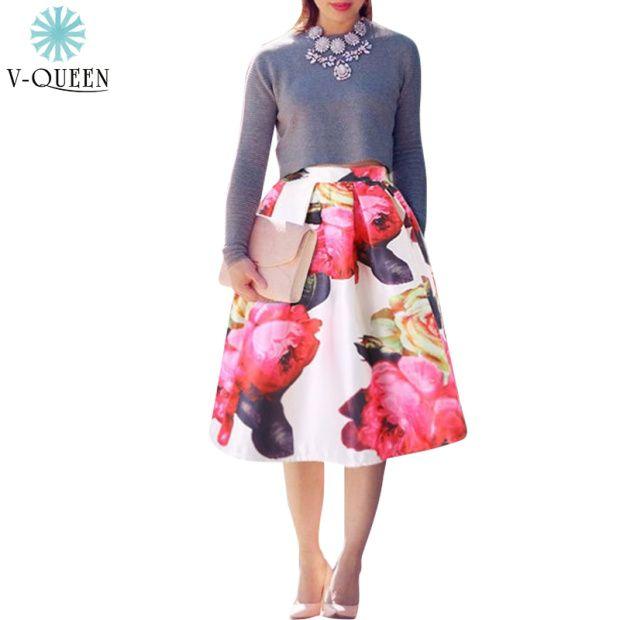 Cheap V queen mujeres moda 2016 otoño invierno Vintage Floral impreso vestido de bola plisado cintura alta falda de Midi círculo Saias A1504003, Compro Calidad Faldas directamente de los surtidores de China:                                                                                        V-QUEEN 2