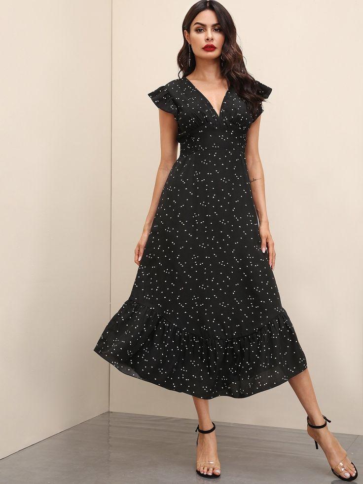 Plunging Ruffle Hem Confetti Heart Print Dress