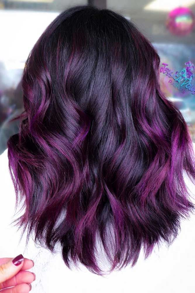 35 Unique Purple And Black Hair Combinations Purple Balayage
