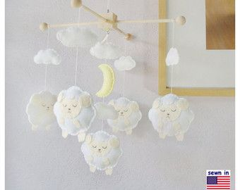 Baby Crib Mobile Baby Mobile Baby Boy Mobile Sheep by hingmade