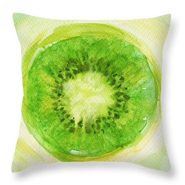 Throw Pillows - Kiwi Fruit Throw Pillow by Kathleen Wong