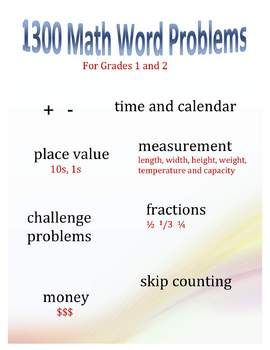 Over 1300 word problems to use with Grades 1-2. Word problems to suit every aspect of your curriculum and every ability in your class. Different categories of problems within 1 topic meet the needs of struggling, typical and advanced students.$