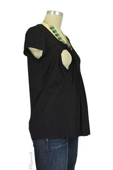 Sophie & Eve Safia Bamboo Pleated Nursing Top in Black by Sophie & Eve with free shipping $39